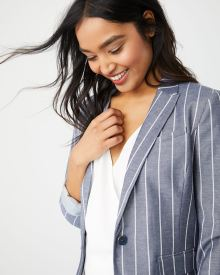 Fitted Striped chambray Blazer