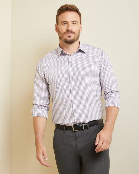 Athletic Fit small check Dress Shirt - Tall