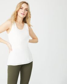 C&G Solid silky crepe sleeveless tunic blouse