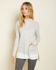 C&G Mixed media nepped tunic sweater