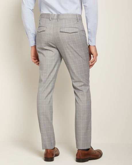 Slim fit light grey windowpane City Pant