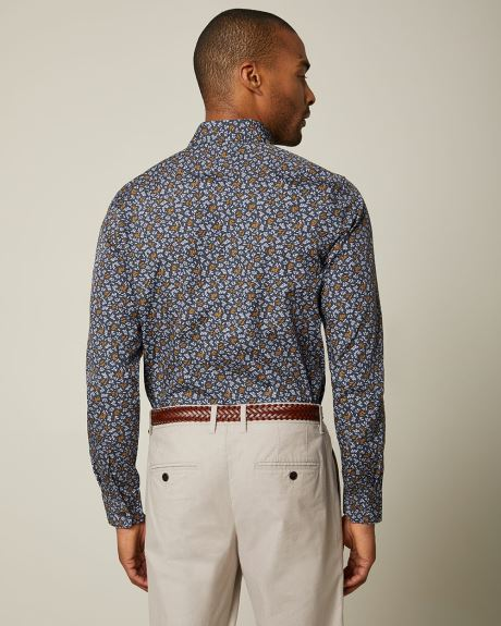 Slim fit navy floral shirt