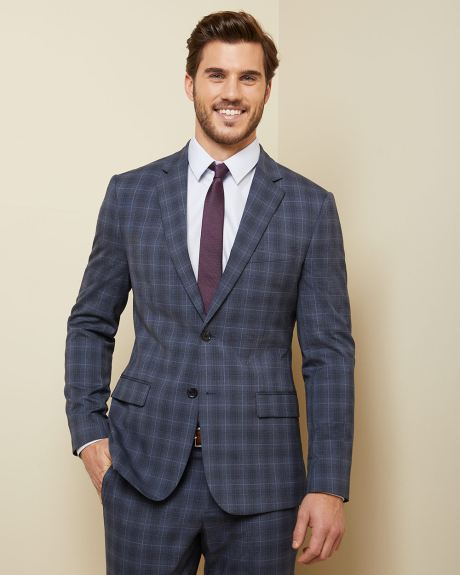 Slim fit blue-tone windowpane suit blazer