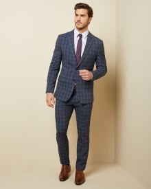 Slim fit blue-tone windowpane suit pant