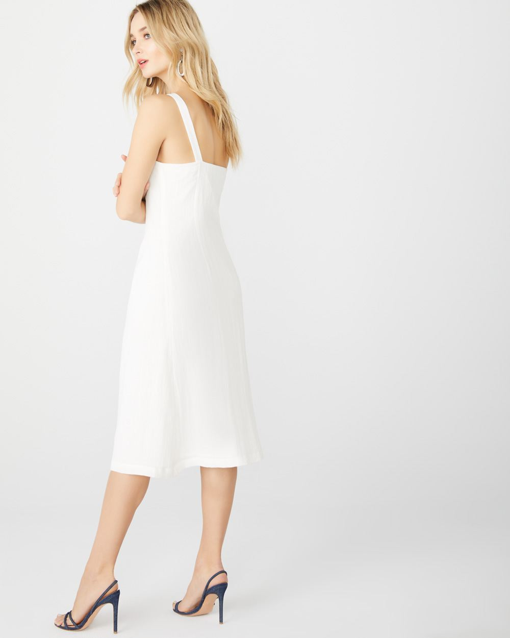 White Midi dress with buttons