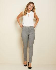 Button-front High-waist Houndstooth legging pant