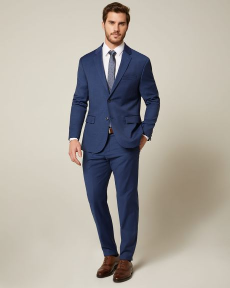 Essential Athletic Fit blue wool-blend suit pant