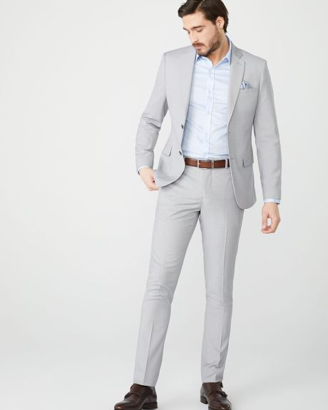 Essential Slim Fit stretch light heather grey suit Pant