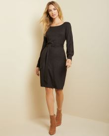 Belted bodycon brushed knit dress