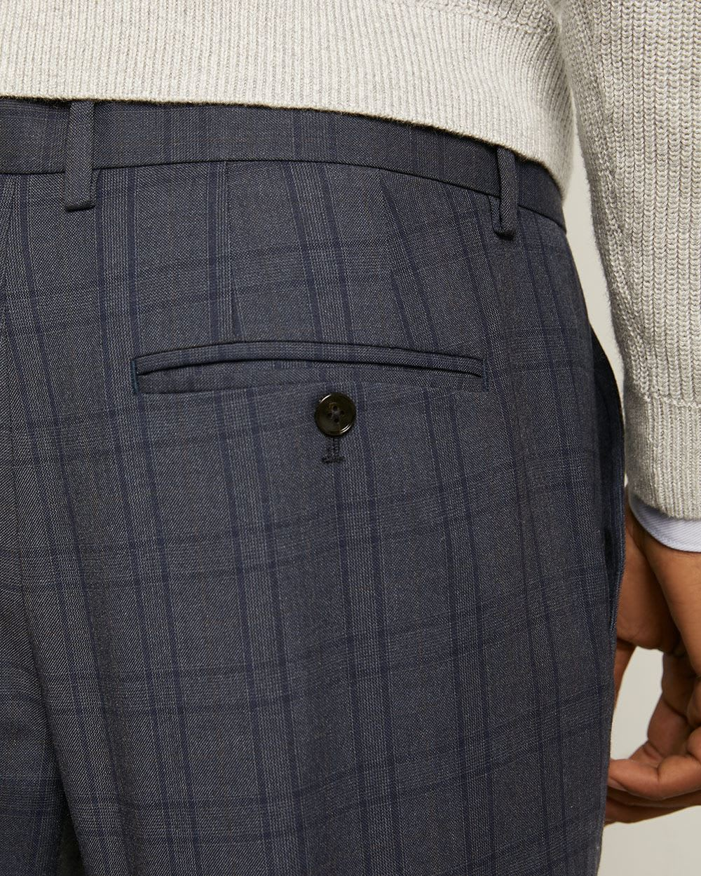 Tailored Fit Navy Check City Pant