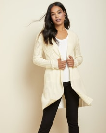 C&G Spongy knit Open-front cardigan with pointelle