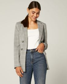 Loose Fit Faux Double-breasted Grey and Blue plaid Blazer