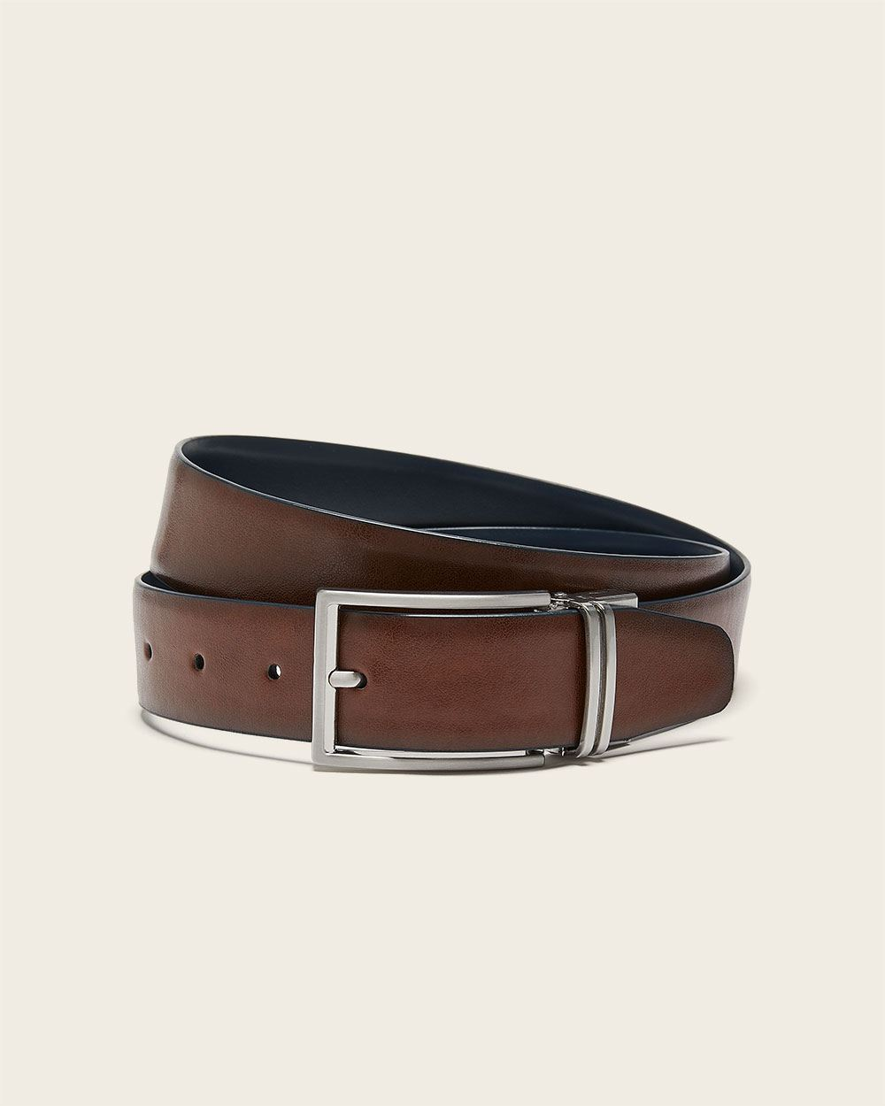 Reversible brown and navy leather belt