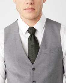 Essential Slim Fit stretch light grey suit vest