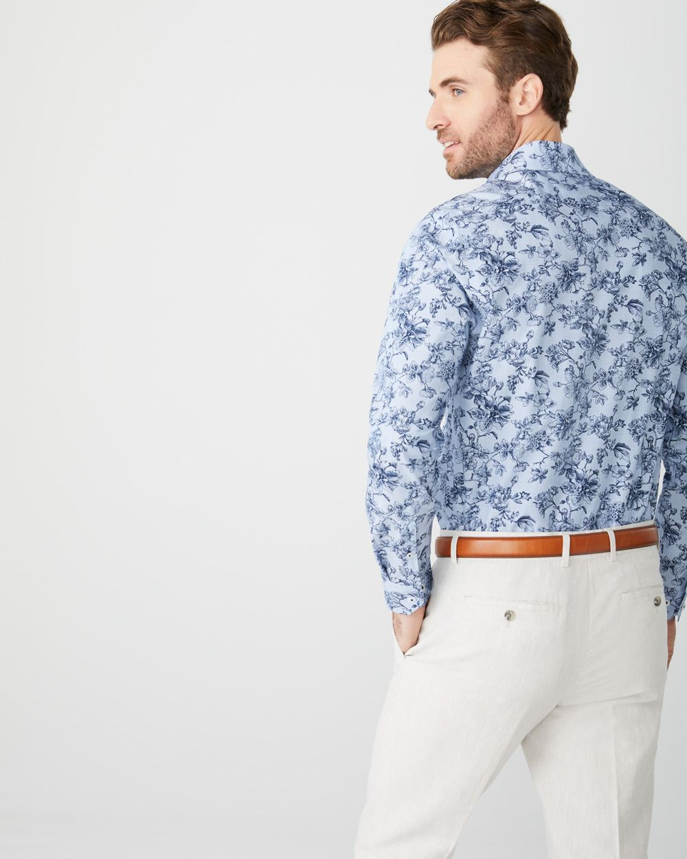 Tailored Fit large blue Floral Dress Shirt