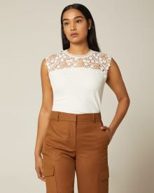 Crepe and Lace cap sleeve top