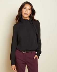 Long sleeve mock-neck blouse with bow