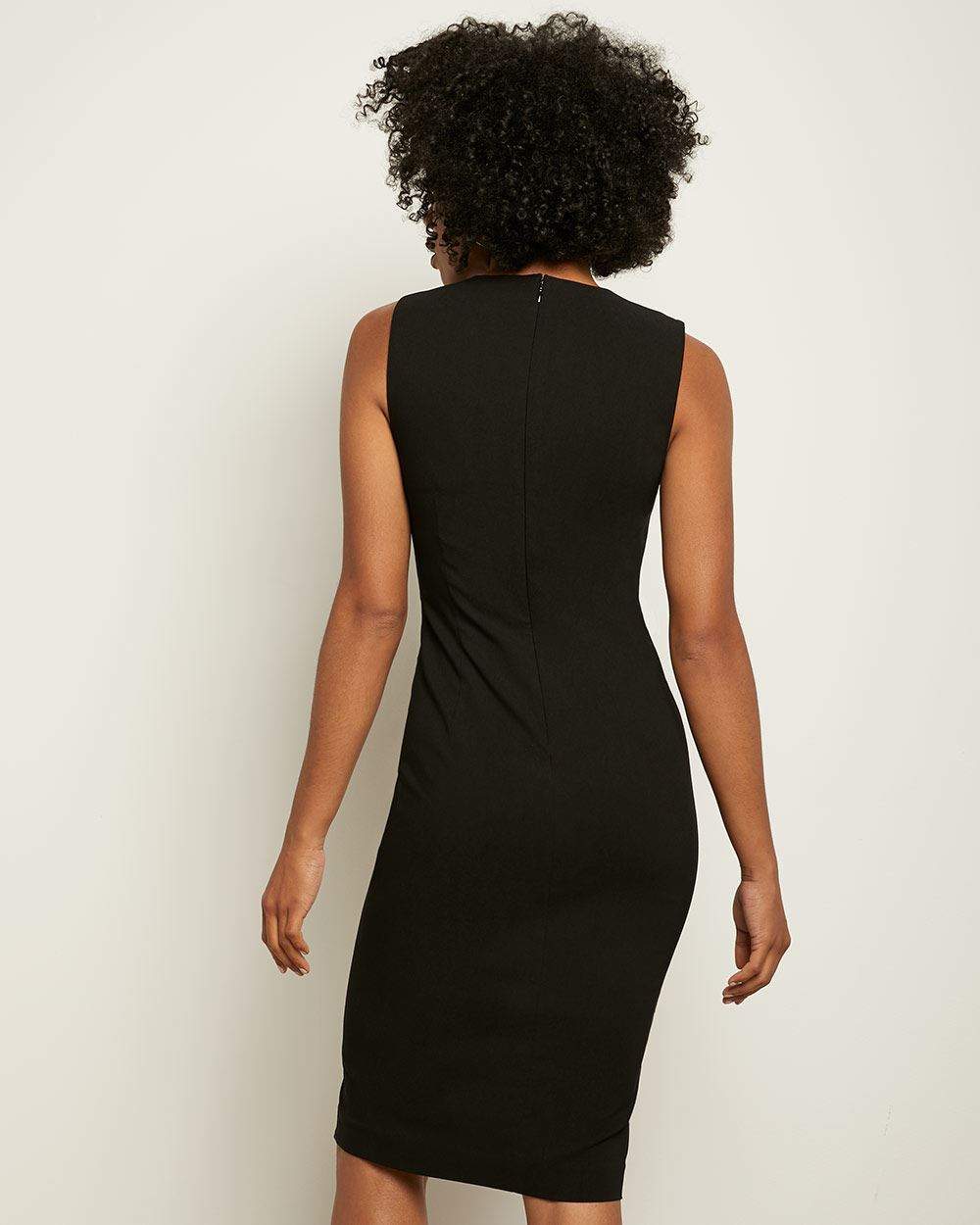 Black V-Neck Sheath City dress with Slits