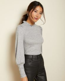 Puff sleeve t-shirt with frilled neck