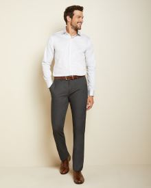 Tailored Fit micro dot white dress shirt