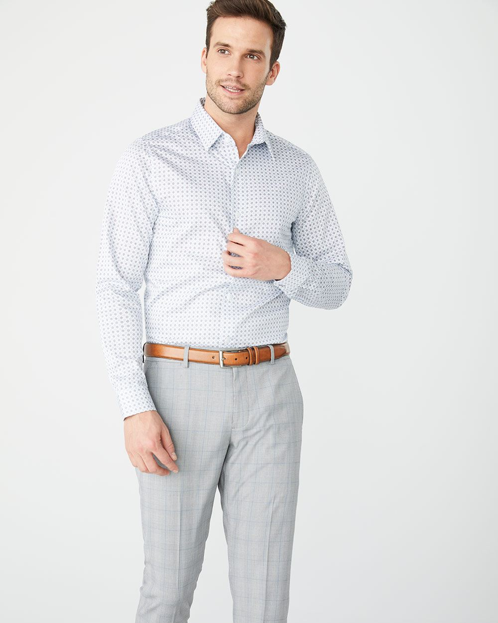 Slim Fit blue geo dot dress shirt - Short