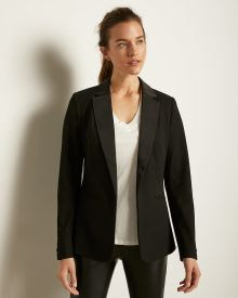 Satin-Collar Long Open-Front Blazer