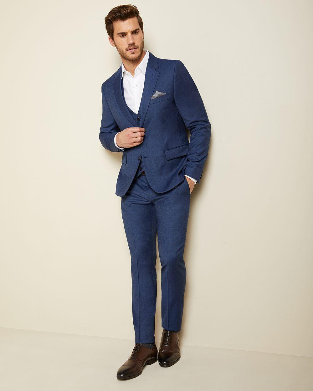 15227f97008732 Essential Slim Fit blue wool-blend suit Blazer - Short | RW&CO.