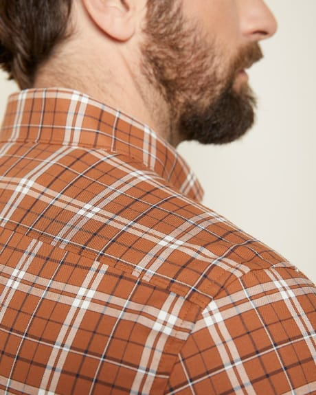 Tailored Fit Short Sleeve stretch plaid Shirt