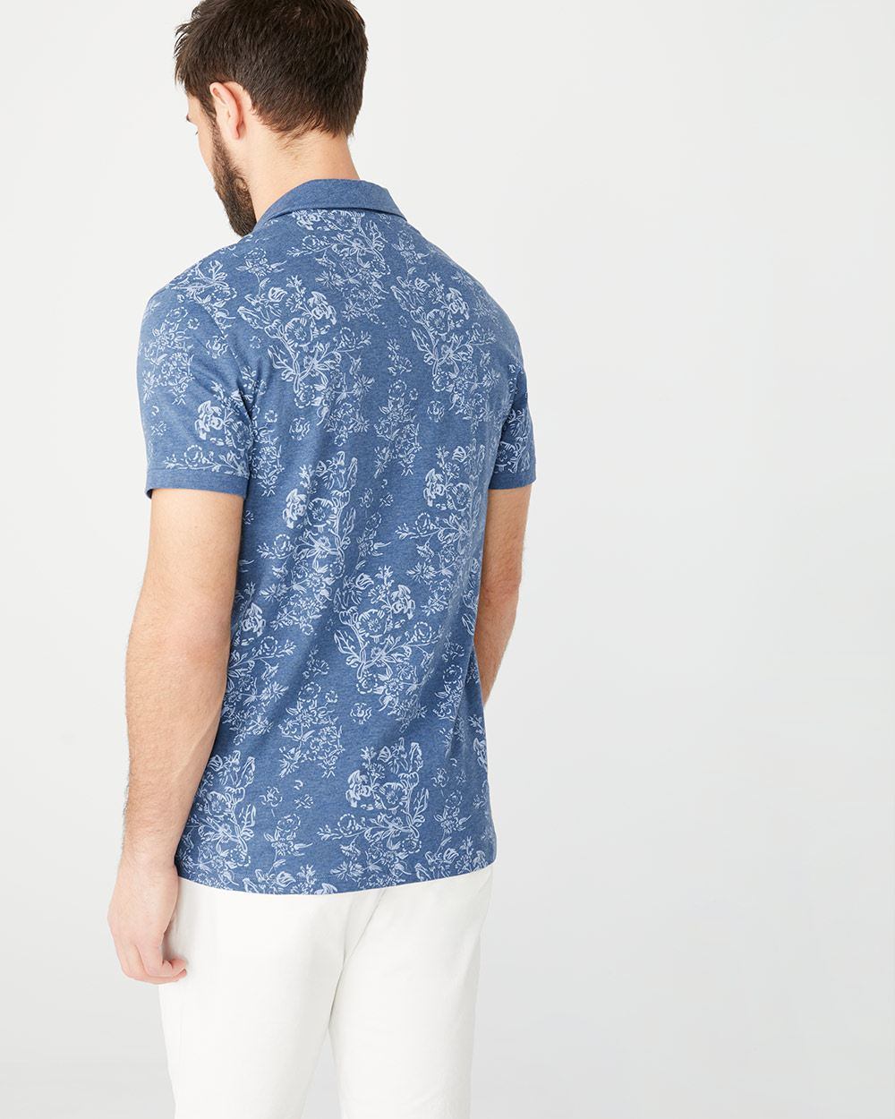 Short Sleeve johnny collar printed polo