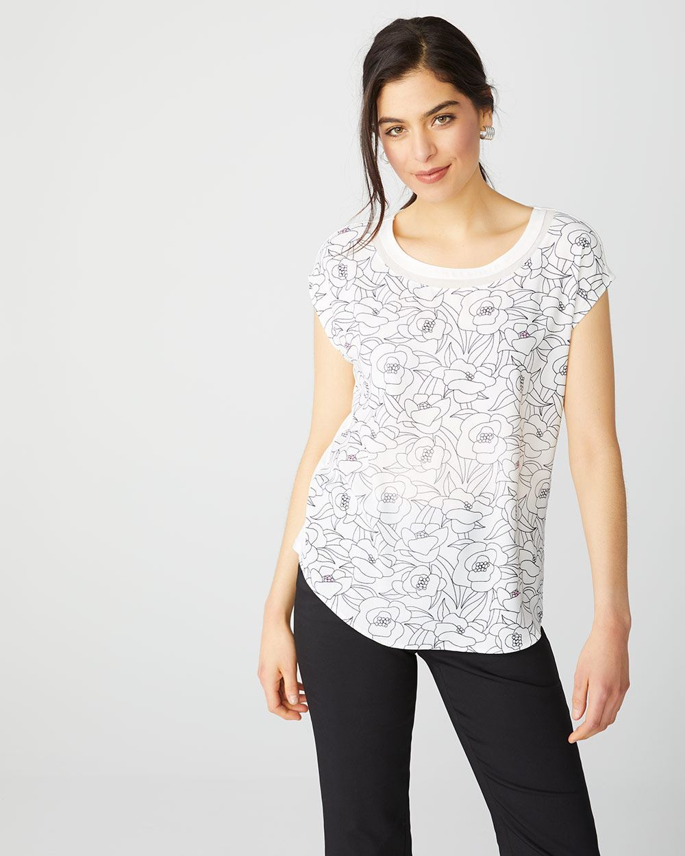 Loose-fit mixed media t-shirt with mesh