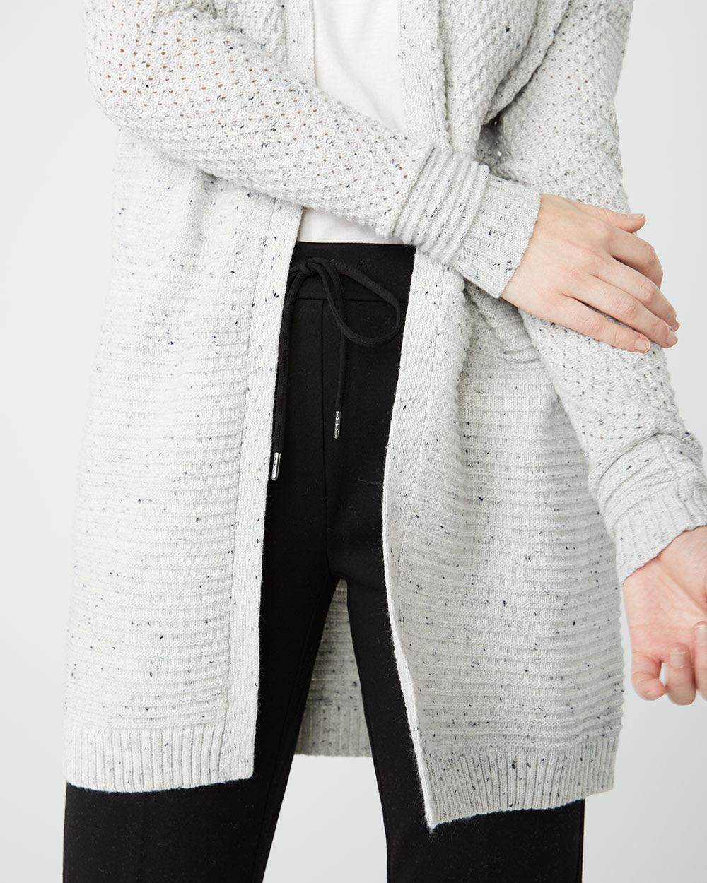 C&G Textured nep yarn open-front cardigan