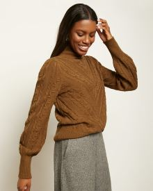 Puffy Sleeve Pointelle Stitch Sweater
