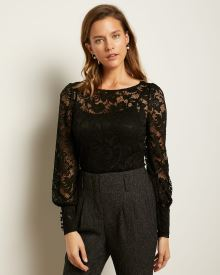 Puffy Sleeve Lace Top