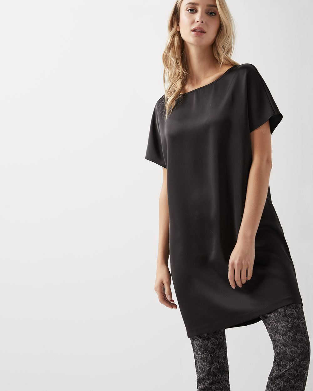 C&G Short sleeve Satin tunic blouse