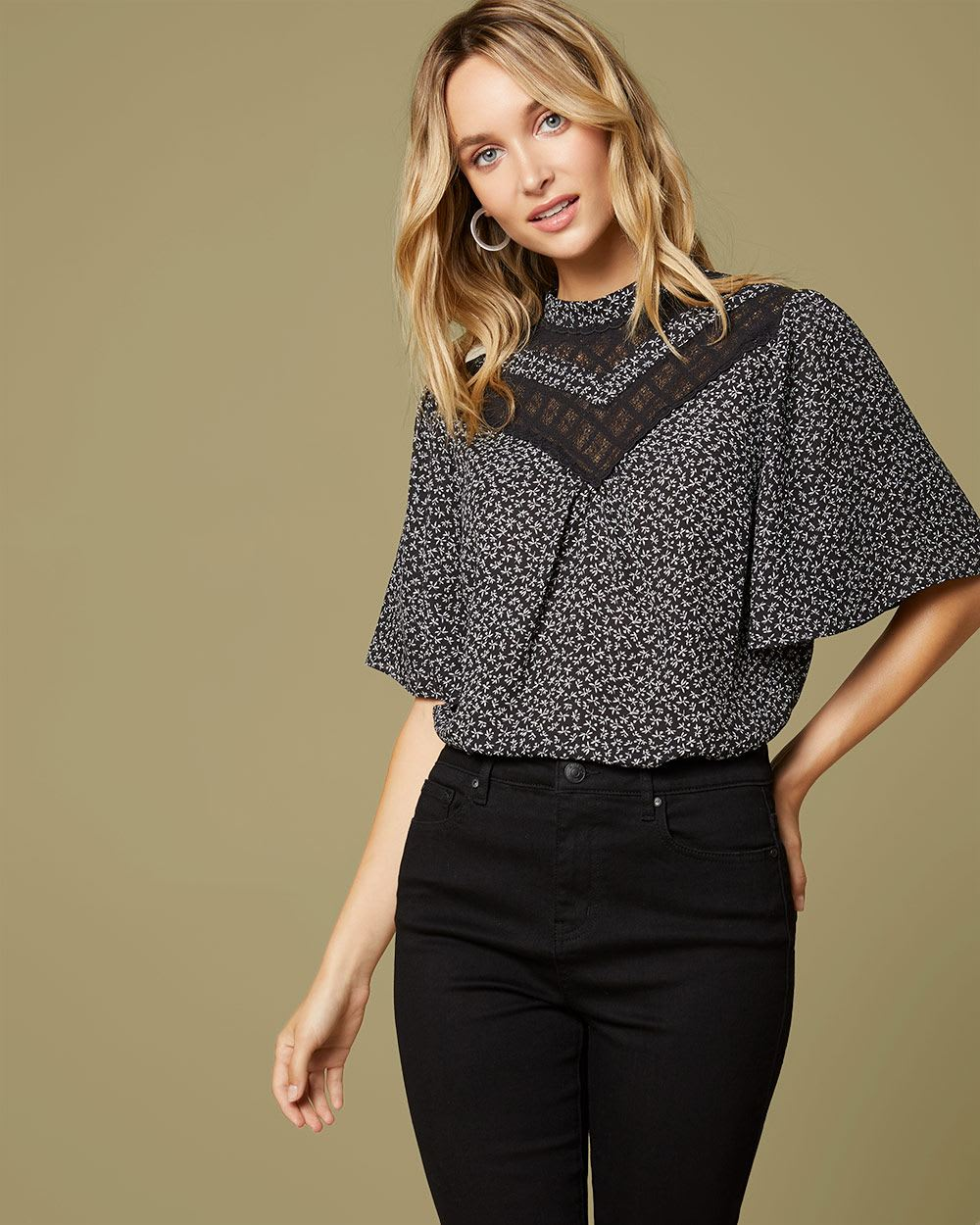 Lace-trimmed mock-neck printed blouse