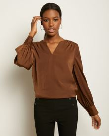 Puffy Sleeve Mat Satin Popover Blouse