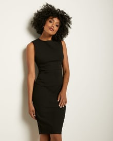 Black Crew-Neck Sheath City dress