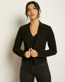 Crop Faux Double-Breasted Blazer