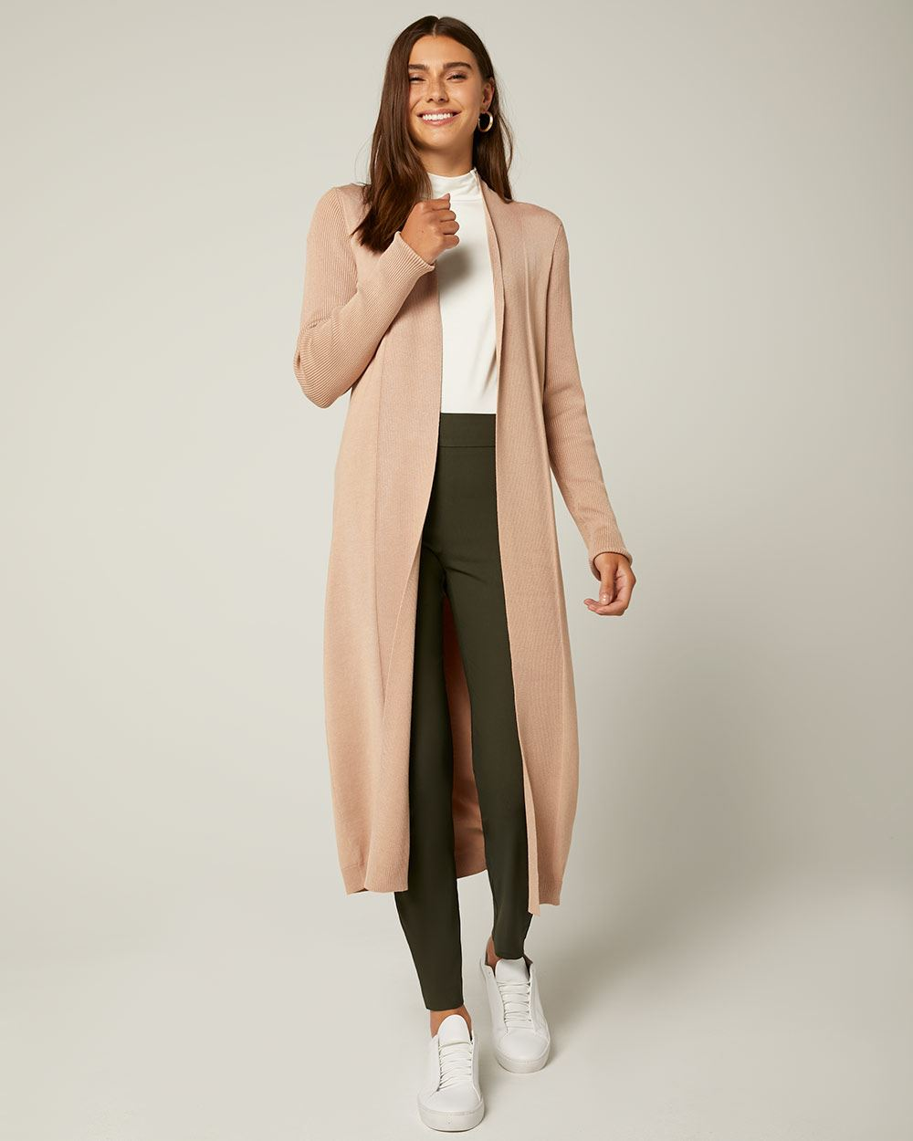 Ribbed Shawl Collar Open-Front Cardigan