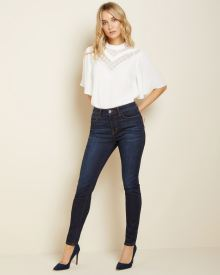 High-waisted skinny jeans in dark blue denim - 30''