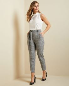 High-waist textured plaid paper bag pant