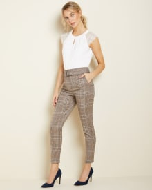 Belted high-waist Slim Leg Plaid Ankle Pant