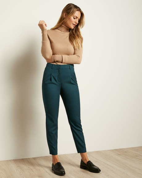Teal Flannel High-Waist Tappered Leg Pant
