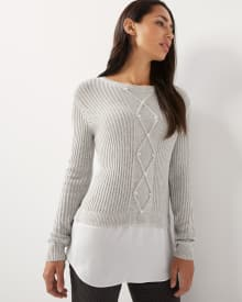 C&G Mixed media cable-knit tunic sweater