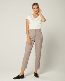 High-Waist Tapered Leg Pink Houndstooth Pant