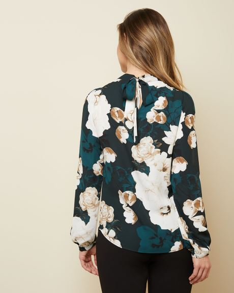 Silky floral crepe blouse with back tie