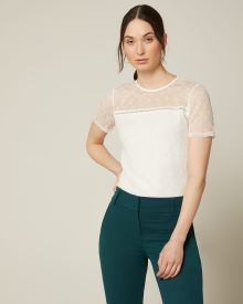 Allover lace short sleeve crew-neck t-shirt