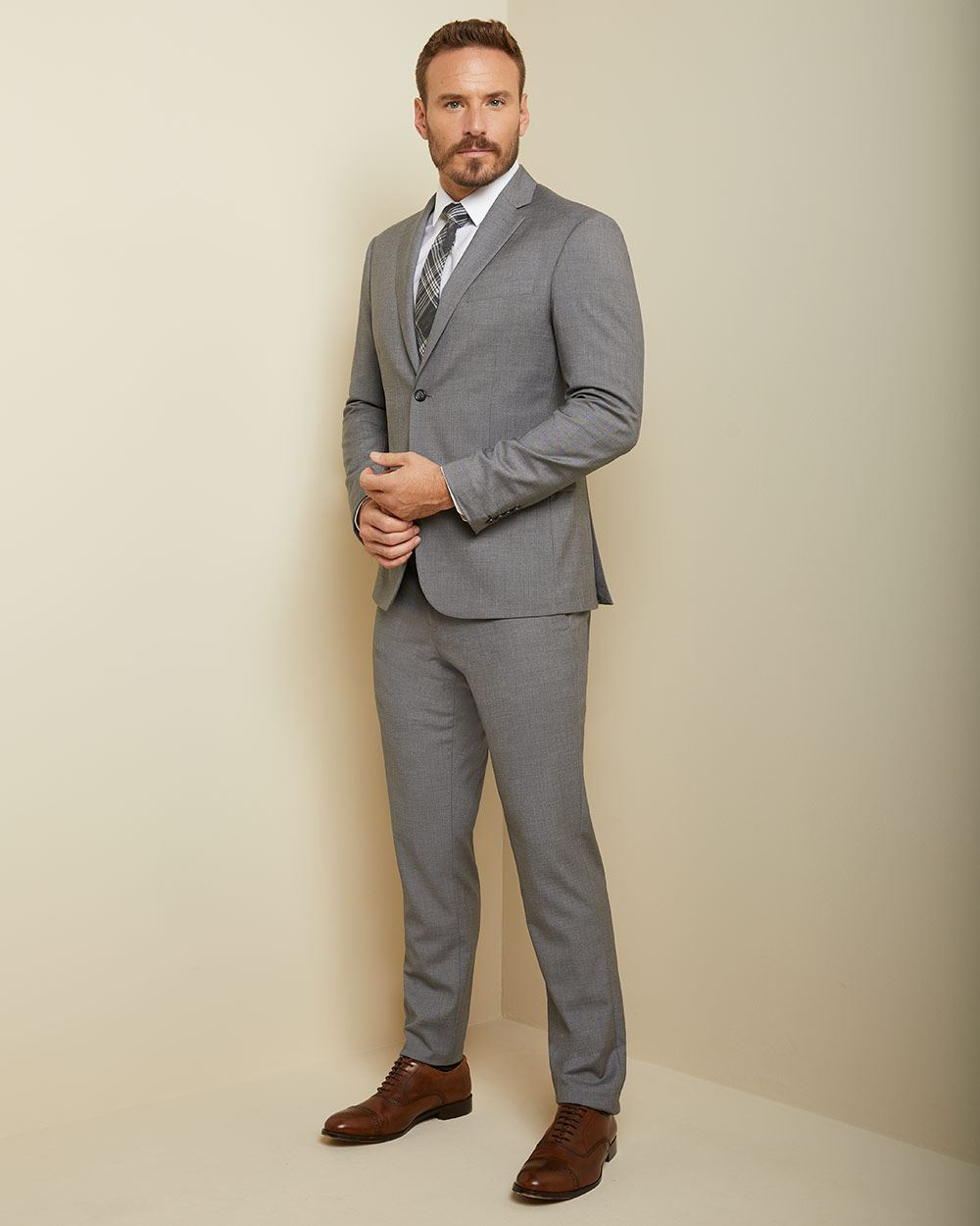 Essential Athletic Fit stretch light grey suit Pant