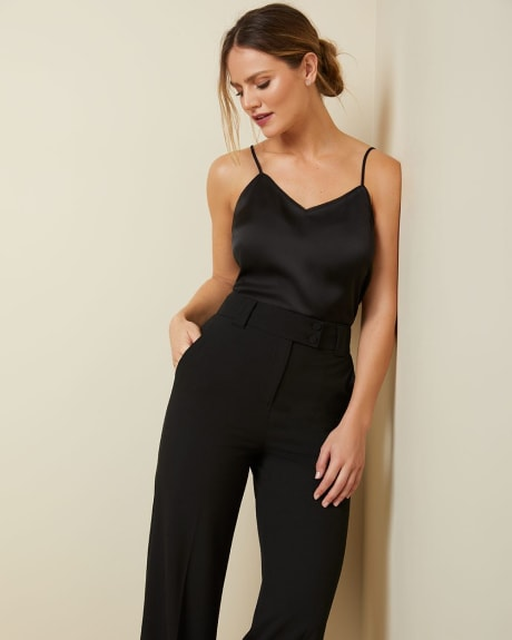 High-waist Black stretch Signature fit wide Leg pant