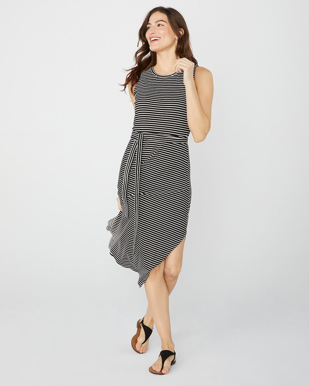3d2d2ec95f8 Striped asymmetrical midi Dress